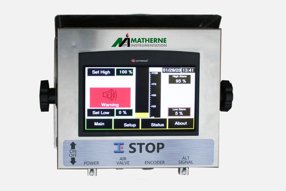 Pressure gauge, measuring instrument close up on pneumatic contr